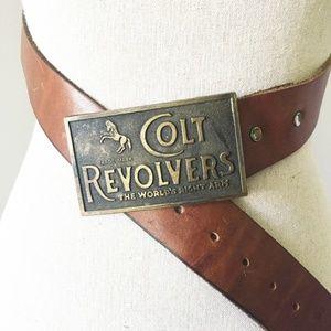 Colt Revolvers Brass Buckle Brown Leather Belt VTG